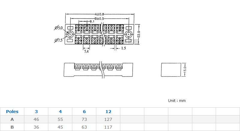 15A 固定式端子台/端子盤